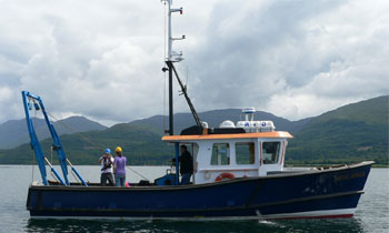 Sidways photo of our small research vessel Seol Mara